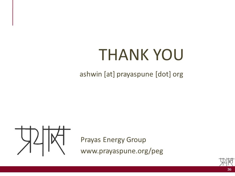 THANK YOU ashwin [at] prayaspune [dot] org Prayas Energy Group